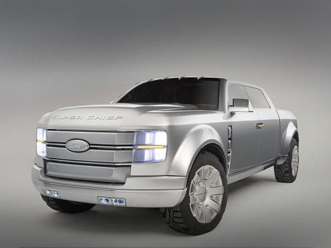 Ford super chief,Ford concept. Монструозный пикап Ford F-250Super Chief— альтернативный взгляд наэкологически чистые автомобили. Этот автомобиль может работать как набензине, так инаего смеси сэтанолом влюбом соотношении, идаже наводороде.