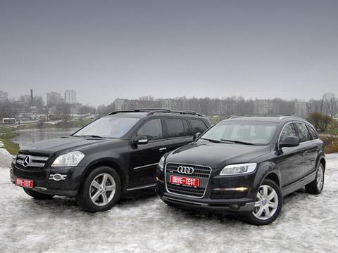 Audi q7,Audi _q7_vs_merc_gl,Mercedes gl. Хмурое утро, Солнцево. В безлюдном месте стоят два огромных чёрных внедорожника. Нет, это не бандитские разборки, это DRIVE.RU устраивает фотосессию.