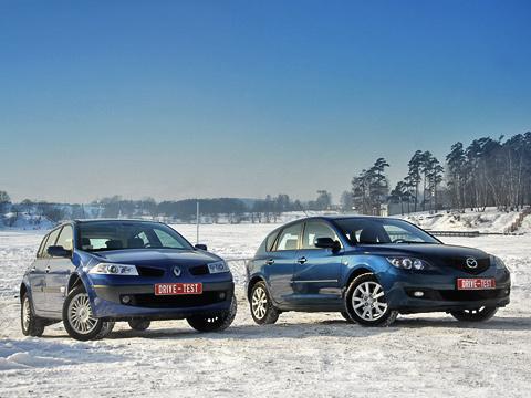 Mazda 3,Renault megane. Mazda3 иRenault Megane разделяют нетолько несколько тысяч долларов, ноиогромная пропасть видеологии. Но,тем неменее, они прямые конкуренты.