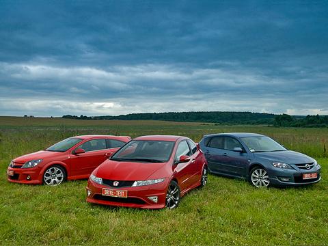 Honda civic type r,Mazda 3 mps,Opel astra opc. Opel Astra OPC, Honda Civic Type R иMazda3MPS. Нучто, которая изних сможет согреть, акакая— обжечь?