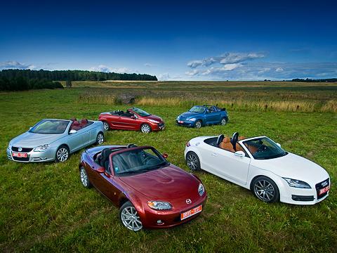 Audi tt,Chrysler pt cruiser,Mazda mx-5,Peugeot 207,Volkswagen eos. Audi TT Roadster, Chrysler PT Cruiser Cabrio, Mazda MX-5, Peugeot 207 CC и Volkswagen Eos — разномастная компания. И все они — у нас на тесте.