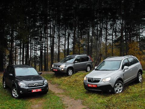 Nissan x-trail,Opel antara,Toyota rav4. Картина маслом — кроссоверы в лесу. Тут для каждого найдётся достаточно испытаний. Вот и посмотрим, кто кого.