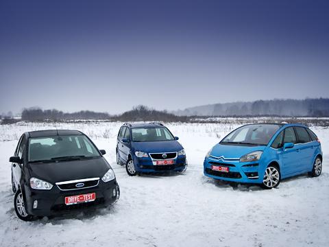 Citroen c4 picasso,Ford c-max,Volkswagen touran. Достаём калькуляторы— сейчас мыбудем выбирать лучший семейный автомобиль! Правда, похоже, что итут одними вопросами практичности необойтись. Ведь все они такие разные иинтересные.