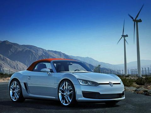 Volkswagen bluesport,Volkswagen concept. Есть основания полагать, что серийная версия родстера BlueSport будет больше походить нановый Golf ихэтчбек Scirocco. Причём дебюта можно ждать уже в2010-м. Акакбы выглядел такой родстер под маркой Porsche?