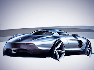 Mercedes sls. Электрическая версия обойдётся без традиционной коробки передач, зато получит систему рекуперации энергии при торможении.