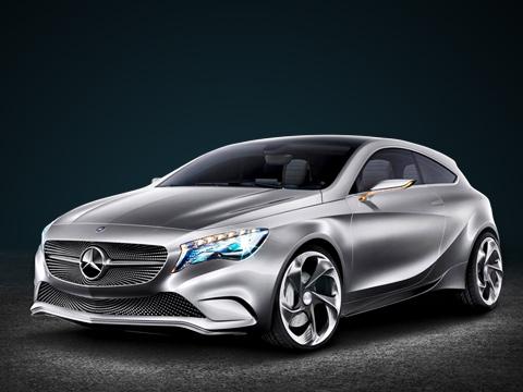 Mercedes a,Mercedes a concept,Mercedes concept. Шоу-кар Mercedes-Benz ConceptA— прототип A-класса третьего поколения. Конечно, усерийного образца наверняка будет менее покатая крыша, что сделает его более похожим наконцепт Blue Zero.