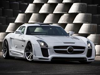 Mercedes sls. Совторой попытки специалистам бюро FAB Design удалось сделать купеSLSAMG ещё шире иниже.
