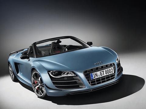 Audi r8,Audi r8 gt spyder. Все 333 купе Audi R8GT, которые были запланированы квыпуску, раскупили в2010году. Одноимённых Спайдеров сделают столькоже.