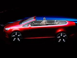 Opel astra. Немцы пока расщедрились только наодин-единственный тизер новинки. Понему можно сказать, что стилистически ипопропорциям кабриолет будет практически копией трёхдверки Opel AstraGTC. Ярким штрихом станет хромированная обводка.