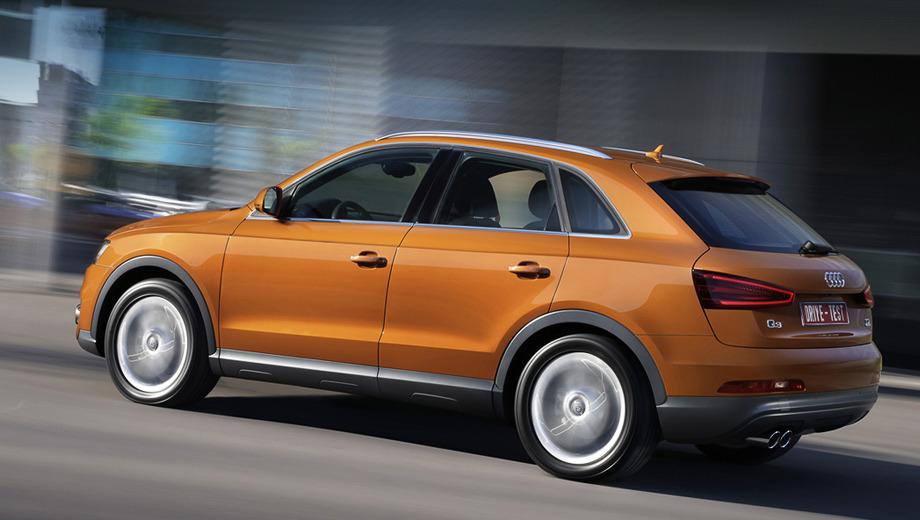 Audi q3,Audi q3_dt. На две бензиновые версии Q3 (170 или 211 л.с.) пока приходится одна дизельная (177 л.с.). Позже появится вторая, 140-сильная: с передним приводом и только для Европы. Но кредо машины таково, что выбор мотора не меняет ничего, кроме размера налогов. И то не везде.