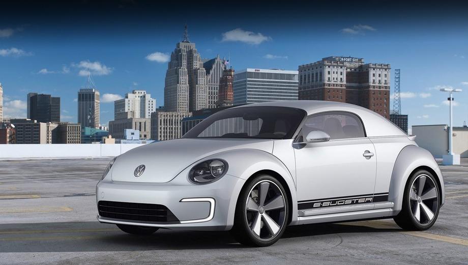 """Volkswagen e-bugster,Volkswagen concept. По сравнению с обычным """"Жуком"""", концепт E-Bugster на 90 мм ниже и на 30 мм шире."""