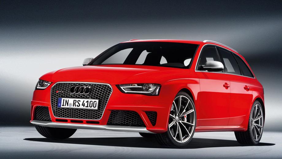 Audi rs4. Модель Audi RS4 Avant отличается от стандартной машины бамперами, решёткой радиатора с мелкими сотами и здоровенными овальными патрубками выпускной системы. Колёсные диски — 19- или 20-дюймовые.