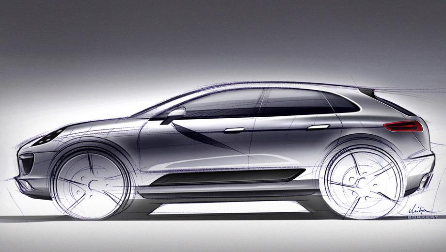 Porsche cajun,Porsche macan. До этого новинку можно было увидеть на рендерах, подготовленных иностранными изданиями, теперь же создатели расщедрились на официальный скетч автомобиля.