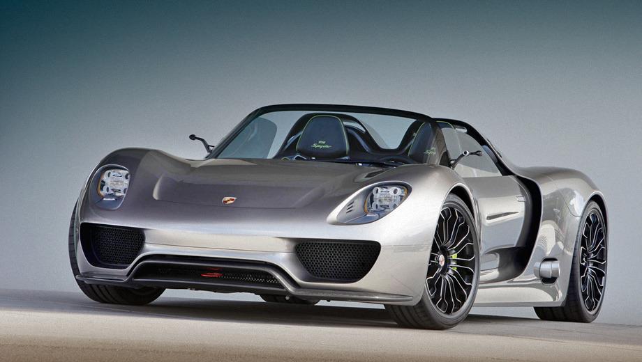 Porsche 918. В оснащение родстера Porsche 918 Spyder попадут семиступенчатый «робот» PDK с двумя сцеплениями, карбонокерамические тормоза, полноуправляемое шасси, активные аэродинамические элементы.