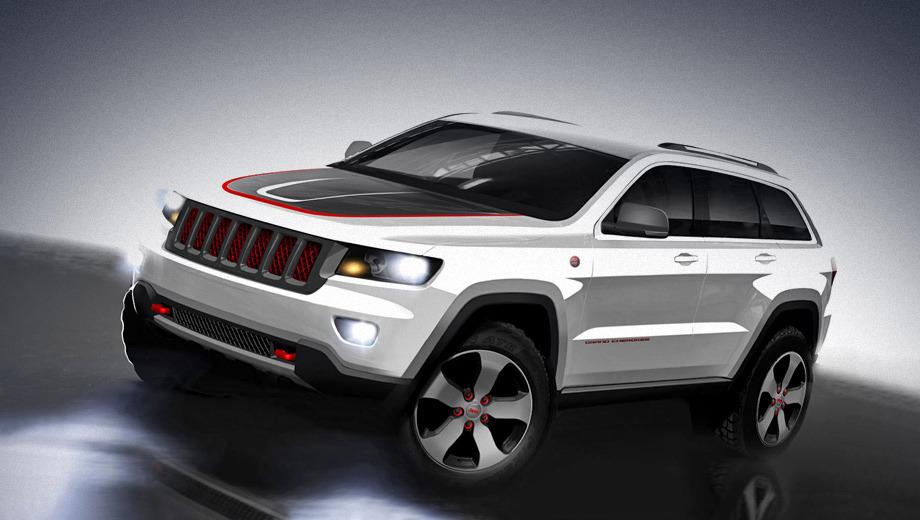 Jeep grand cherokee,Jeep wrangler. Концептуальный Jeep Grand Cherokee Trailhawk обут в 18-дюймовые легкосплавные диски с шинами Goodyear Wrangler SilentArmor.