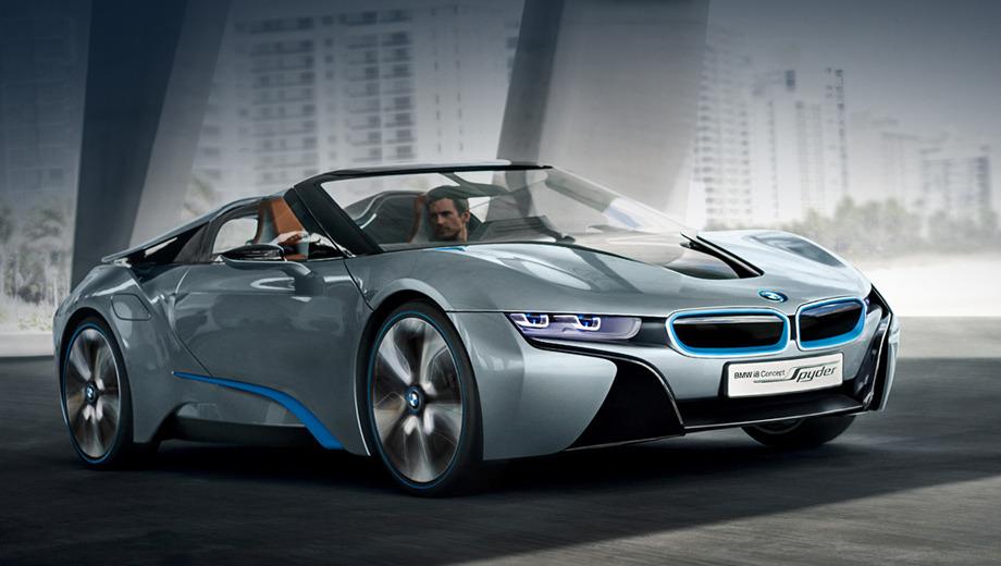 Bmw i8. Отрадно, что во внешности открытого спорткара многое сохранилось от концепта 2009 года. Есть надежда, что и серийное купе не сильно уйдёт от шоу-кара EfficientDynamics.