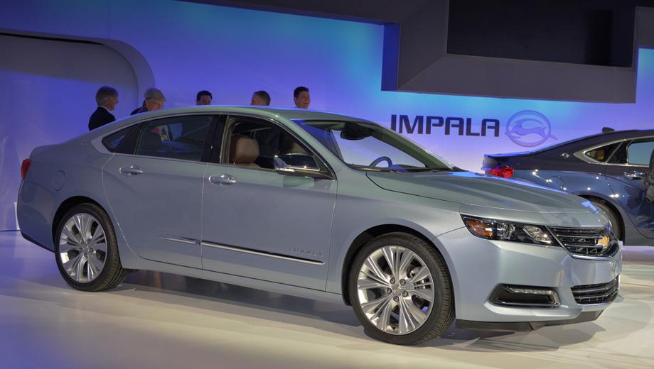 Chevrolet impala. Новинка выглядит современно и выполнена в стилистике последних моделей Chevrolet. Седан Impala теперь обладает всем набором атрибутов современного автомобиля — обтекаемые линии, диоды, обилие хрома: четырёхдверка выглядит заметно дороже предшественницы.
