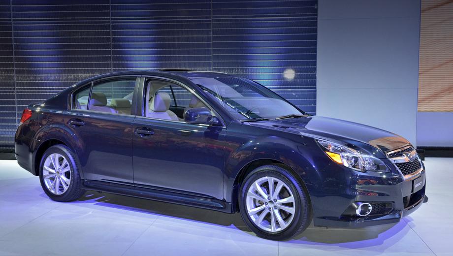 Subaru legacy,Subaru outback. После фейслифтинга седан Legacy (на фотографии) и универсал Outback обрели подретушированную головную оптику, изменённые решётку радиатора и передний бампер.