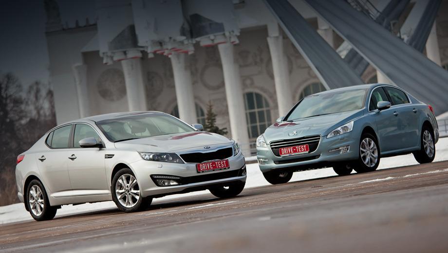 Kia optima,Peugeot 508. По нашим наблюдениям, обе новинки пользуются вниманием окружающих с одинаковым успехом. Но возле Kia люди задерживаются дольше, тут есть на что посмотреть! «Француз» отыгрывается во время езды.