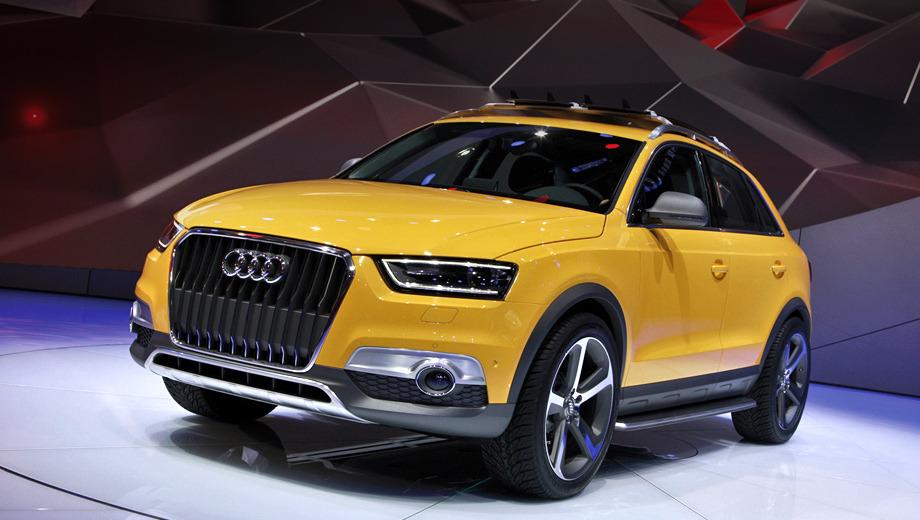 Audi q3,Audi concept. Концепт обращает на себя внимание прежде всего ярким окрасом кузова — жёлтый Liuli Yellow. Кроме того, опознать концепт можно по иной решётке радиатора и чёрным накладкам на зеркалах.
