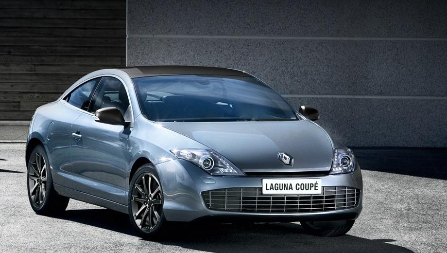 Renault laguna coupe. Внешних изменений по сравнению с Лагуной образца 2008 года — минимум. Полоски обязательных диодных ходовых огней в фарах да новые диски и цвета кузова.