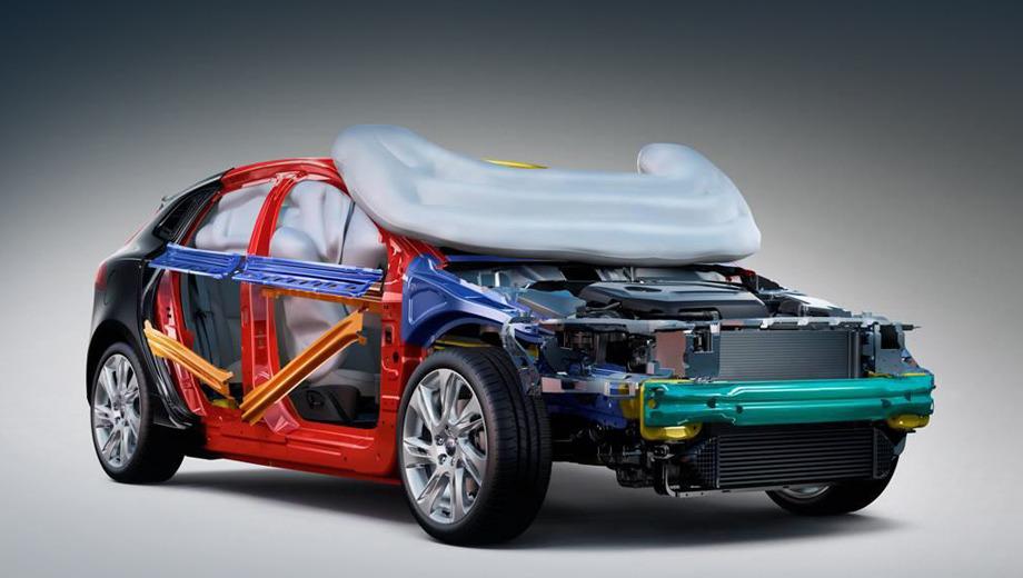 Volvo v40. Технология Pedestrian Airbag — ещё одно новшество в сфере безопасности, внедрённое фирмой Volvo. Именно она в 1959 году первой начала ставить на серийный автомобиль (Volvo PV 544) трёхточечные ремни. Кстати, недавно шведы показали саморазбивающиеся стёкла.
