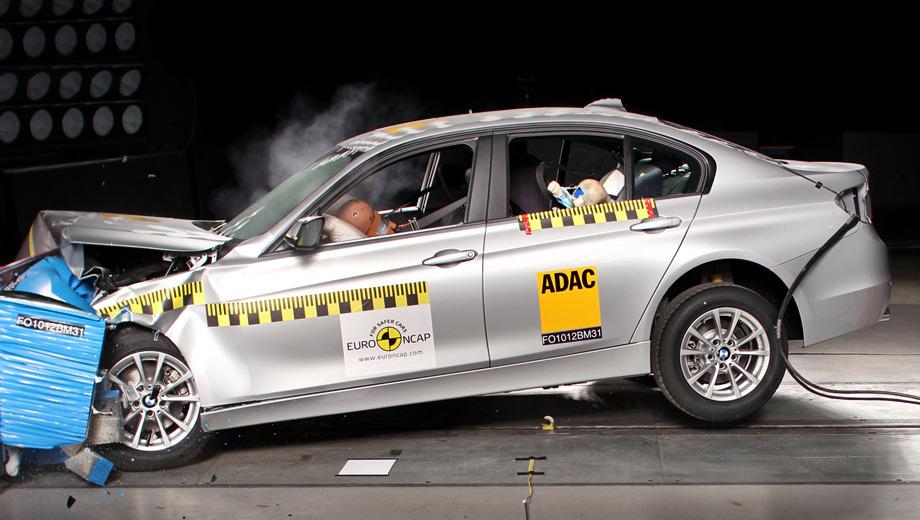 Audi a6,Bmw 3,Hyundai i30,Mazda cx-5,Peugeot 208. Героем этой серии краш-тестов стал седан BMW третьей серии, который набрал наивысший балл среди всех участников.
