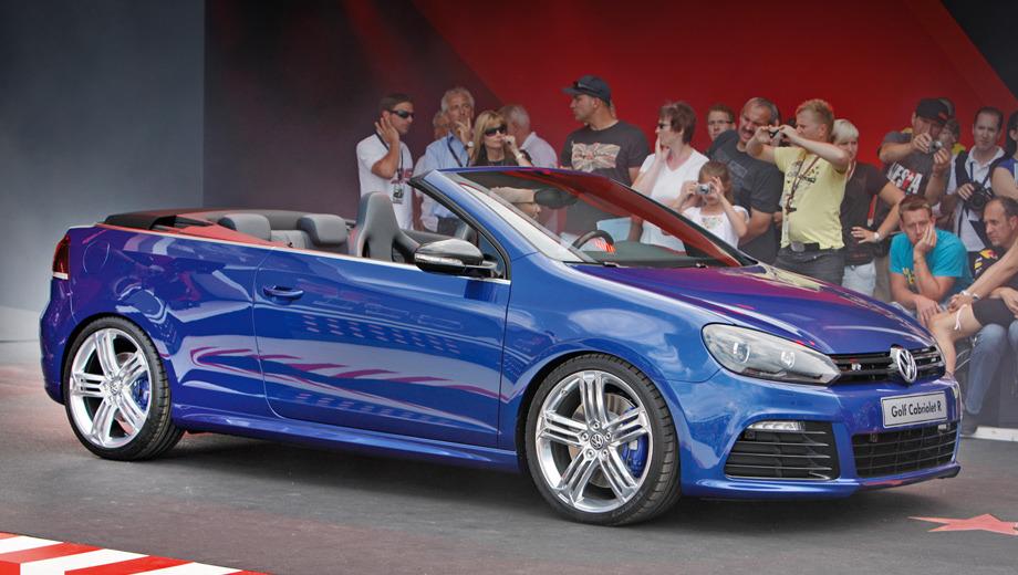 Volkswagen golf r. Рецепт открытой «эрки» прост: кузов от кабриолета Golf, но с оформлением, идентичным хэтчбеку Golf R. От последнего взята и вся техническая начинка.