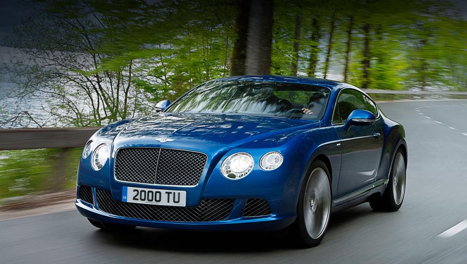 Bentley continental gt. Внешних отличий от базового купе тут почти нет. Только оригинальные 21-дюймовые колёсные диски, шильдик на переднем крыле, а также решётка радиатора и сетка в нижнем воздухозаборнике, которые просто окрашены темнее штатных.