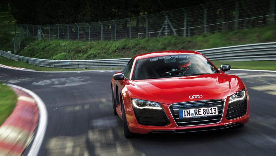 Audi r8,Audi r8 e-tron. Кольцо длиной 20,8 км предъявляет высокие требования к управляемости машины, её способности интенсивно тормозить и быстро набирать темп на выходах из поворотов.