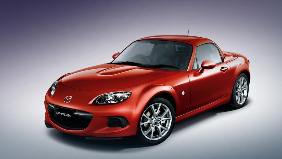 Mazda mx-5. Помимо прочего родстер получил облегчённый капот с пиропатронами, поднимающими его вверх у лобового стекла, облегчённые алюминиевые диски и менее тяжёлый передний бампер.