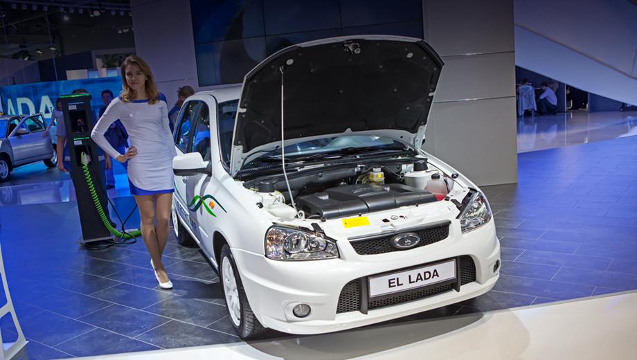 Lada ellada. Автомобиль построен на базе грузопассажирской Калины с широким использованием зарубежных компонентов. Так, электромотор, инвертор, электроотопитель, преобразователь DC/DC и бортовой зарядник тут из Швейцарии, а тяговые аккумуляторы — из Китая.