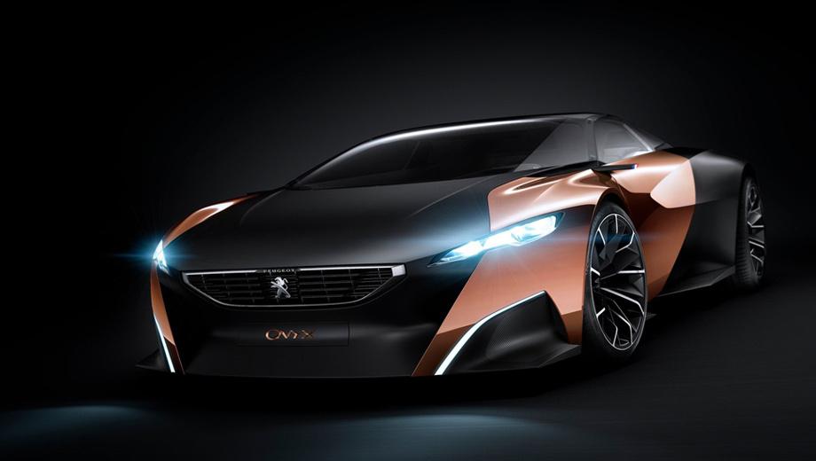 Peugeot onyx. Рама концепта Onyx выполнена из композитного материала и весит всего 100 килограммов. Большинство кузовных панелей — также из углепластика.