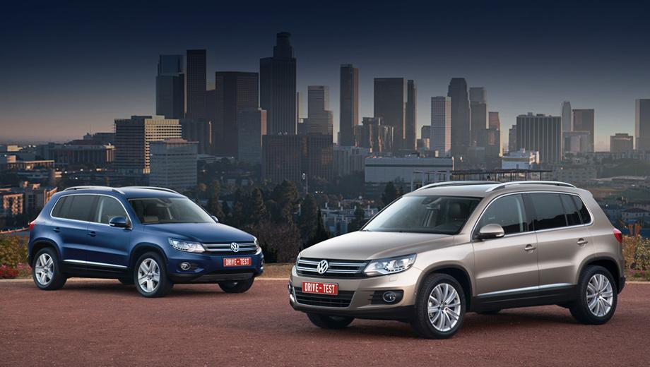 Volkswagen tiguan,Volkswagen tiguan_dt. Tiguan всё ещё предлагается в городской и внедорожной версиях с разными передними бамперами. «Селянин» (слева) длиннее на 177 мм, обладает лучшей геометрической проходимостью и оснащается только полноприводной трансмиссией. «Горожанин» может быть и моноприводным.