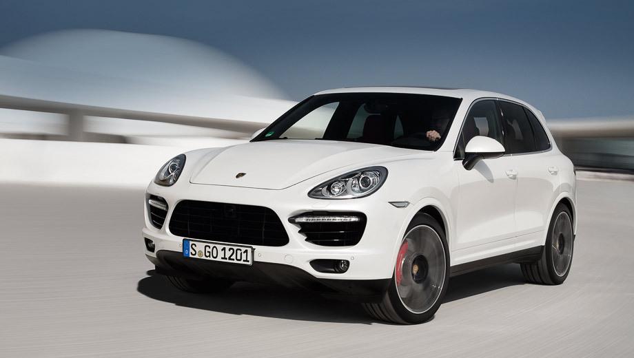 Porsche cayenne,Porsche cayenne turbo s. Внешне версия Turbo S выделяется среди «собратьев»  несколькими глянцевыми чёрными элементами отделки (воздухозаборники, ножки зеркал и так далее), а также легкосплавными дисками на 21 дюйм с глянцевой чёрной окраской внутренних частей и цветными значками Порше в центре.