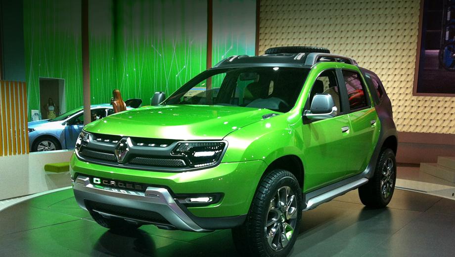 Renault dcross. Для окраски кузова дизайнеры выбрали двухцветную схему — передняя часть кроссовера ярко-зелёная, а задняя матовая чёрная.