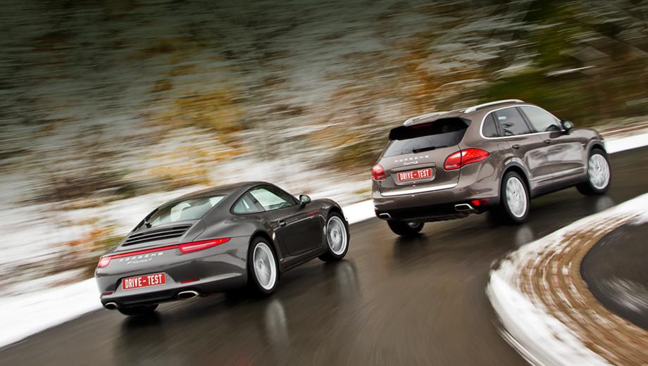 Porsche 911,Porsche cayenne. Полноприводная Carrera традиционно выделяется расширенными колёсными арками и красной перемычкой между задними фонарями, состоящей теперь из диодных нитей. А Cayenne c дизелем V8 ничем не отличается от бензинового, кроме шильдиков на крыльях, которые можно и не заказывать.