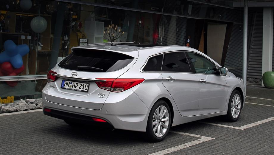 Hyundai i40. Объём багажника универсала Hyundai i40 — 553 л, а при сложенных задних сиденьях — 1790 л.
