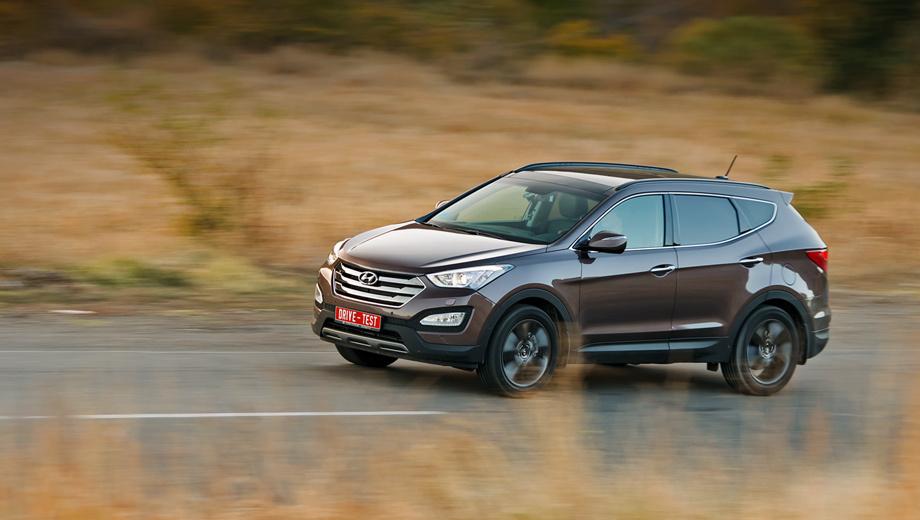Hyundai santa fe. Корейцы позиционируют Santa Fe в качестве конкурента, например, Volvo XC60. Hyundai дешевле, плавнее и сзади тут немного свободнее. Есть семиместная версия со стандартной или увеличенной на 250 мм колёсной базой (в России пока доступен только короткобазный вариант).