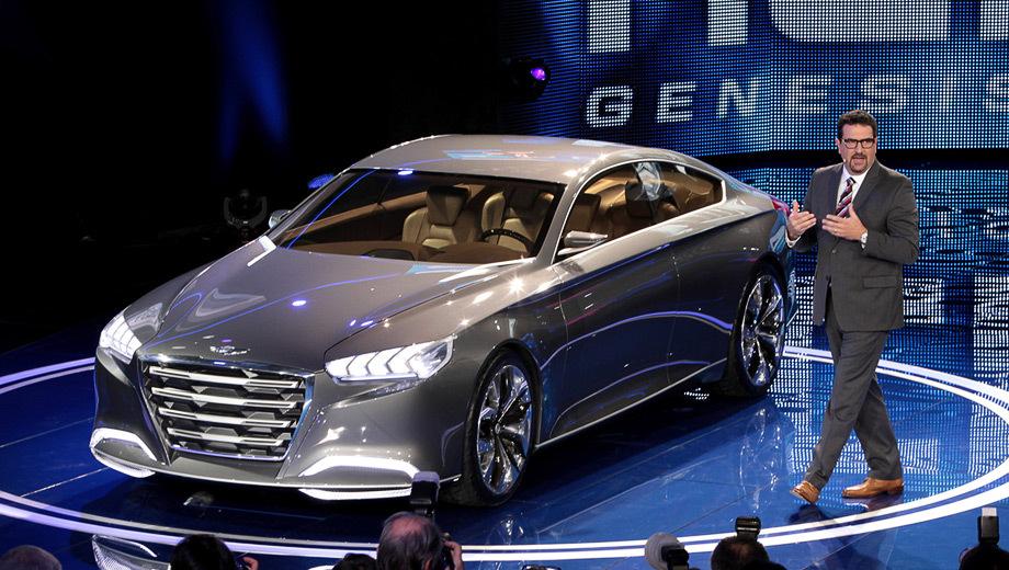 Hyundai concept. Заднеприводный концепт Hyundai HCD-14 Genesis укомплектован активной подвеской и блокировкой дифференциала.