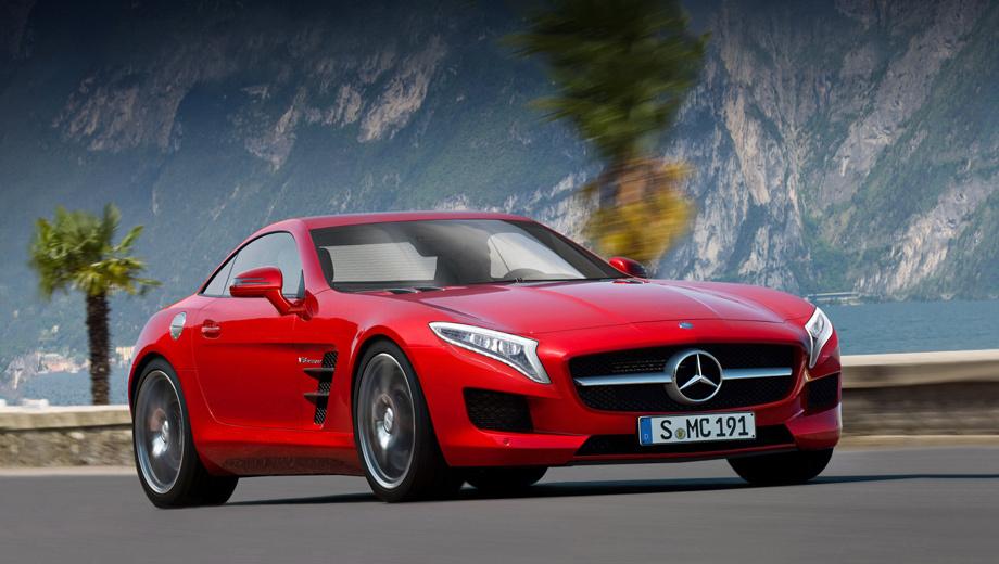 Mercedes sls,Mercedes slc. Новое купе должно появиться в 2015 году. В своём облике оно постарается соединить современность с мотивами легендарного прародителя 300 SL. Этот рисунок выполнен сторонним художником по описаниям инсайдеров.