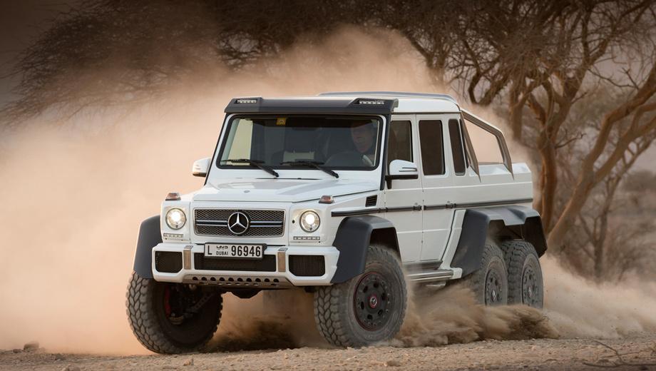 Mercedes g amg. Углы въезда и съезда составляют 52 и 54 градуса соответственно (у обычного G 63 AMG — 36 и 27 градусов). Глубина преодолеваемого брода — метр, что на 400 мм больше показателя армейского пикапа.