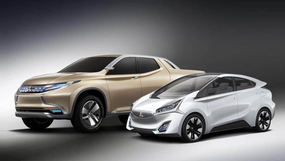 Mitsubishi ca-miev,Mitsubishi gr-hev,Mitsubishi concept. Пикап смотрится достаточно спокойно для концепта, многие его черты вполне могут перекочевать на серийную модель. А вот внешность компакта очень спорная, но, несомненно, запоминающаяся.