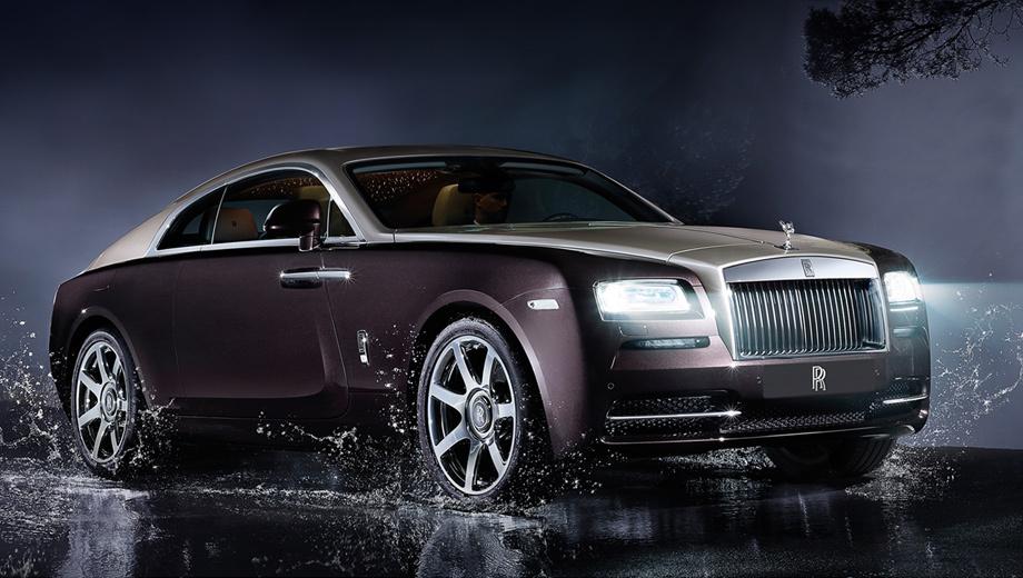 Rollsroyce wraith. Родственнику седана Ghost дизайнеры подарили элегантный кузов фастбек с открывающимися против хода дверьми и симпатичной двухцветной окраской.