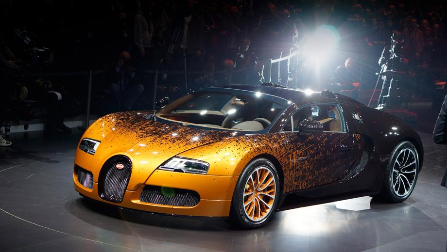 Bugatti veyron,Bugatti veyron grand sport. Никаких технических изменений модель Bugatti Veyron Grand Sport не претерпела. Все эффекты спецверсии — внешние. И внутри их не меньше, чем снаружи.