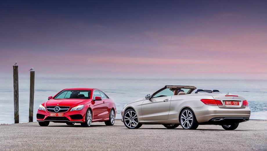 Mercedes e coupe,Mercedes e cabrio. В новой стилистике Мерседеса стало меньше острых граней, и купе с кабриолетом E-класса от этих перемен только выиграли.