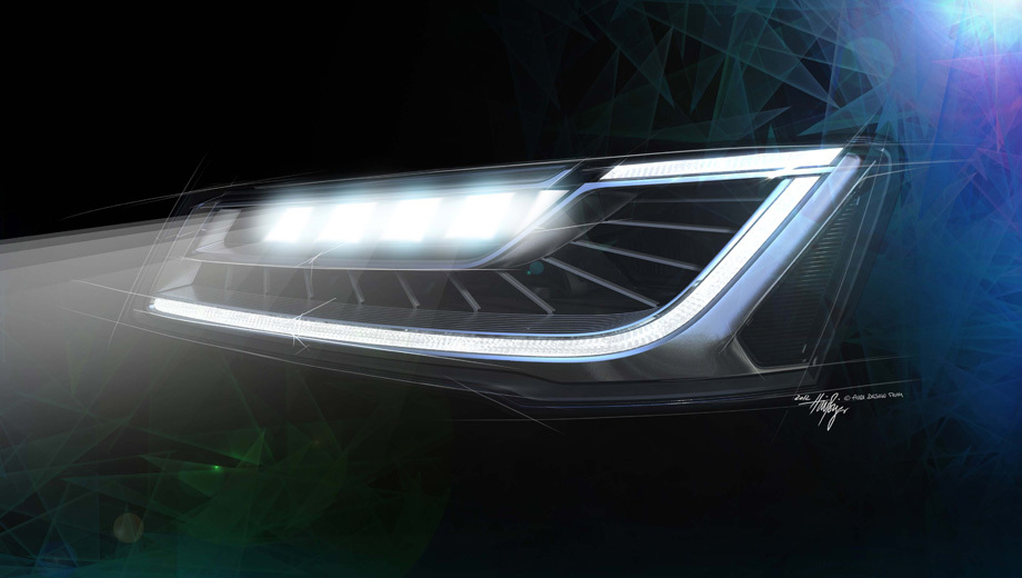 Audi a8. Немцы пишут, что матричные фары не только придадут автомобилям из Ингольштадта новые возможности, но и повысят визуальную привлекательность моделей. Данный рисунок компания именует просто «Фара Audi Matrix LED», не поясняя точно  — так будет выглядеть головная оптика на «восьмёрке» или немного по-другому.