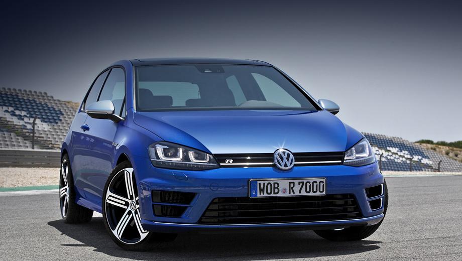 Volkswagen golf,Volkswagen golf r. Новинка получила отличные от стандартных бамперы, а также другие 18-дюймовые колёсные диски.