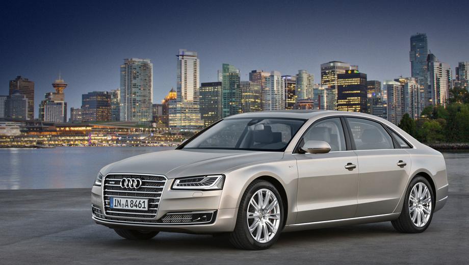 Audi a8,Audi s8. Длина, габариты, колёсная база — тут перемен нет. Но зато появились, к примеру, новая оптика и решётка радиатора, переработанные бамперы.