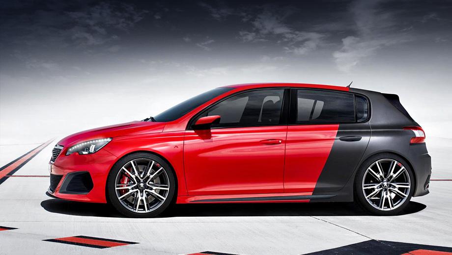 Peugeot 308,Peugeot 308 r. Внешне от серийного «собрата» «зажигалка» отличается передним бампером с крупными воздухозаборниками, новыми колёсными дисками, накладками на пороги, двумя выхлопными патрубками и рядом иных деталей.